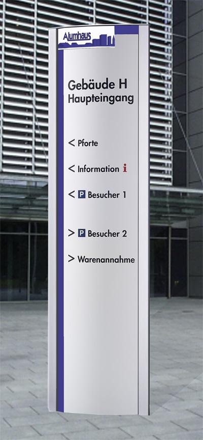 Wegleitsystem Beschriftungssäule